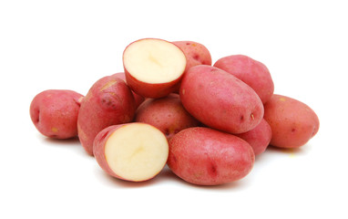red potatoes on white background