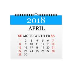 Monthly calendar 2018. Tear-off calendar for April. White background. Vector illustration