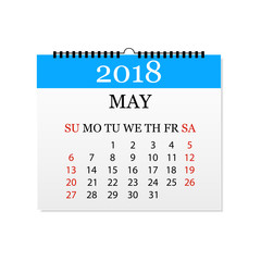 Monthly calendar 2018. Tear-off calendar for May. White background. Vector illustration
