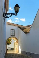 Picturesque street in the historic center of Faro, Algarve, Portugal