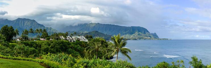 North Shore of Kauai - Panoramic view of Hanalei Bay Overlook at the north shore of Kauai, Hawaii, USA