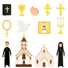 Collection of religious symbols and objects in flat style. Bible, icon, crosses, candles, dove, church attendants, temples. Cartoon vector illustration