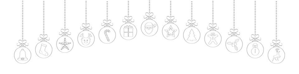 Hand drawn Christmas ornaments. Vector.