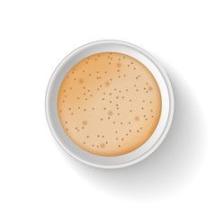 Top view of takeaway paper coffee cup. Object isolated on the white background. To go coffee cup. Realistic vector illustration. Cappuccino or latte coffee.
