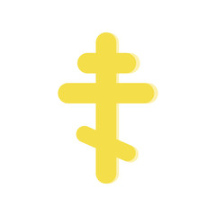 Golden eight-pointed cross. Symbol of Orthodox Church. Religious icon in flat style. Vector design element for website, mobile app or infographic.