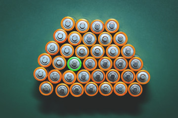 Lithium AA batteries on a green background
