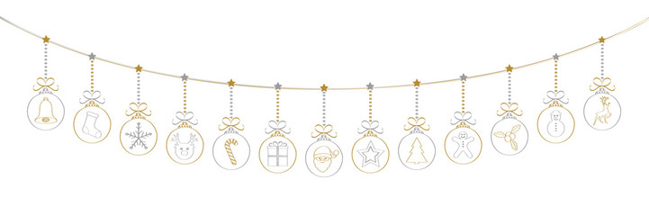 Christmas garland with hand drawn elements. Vector.