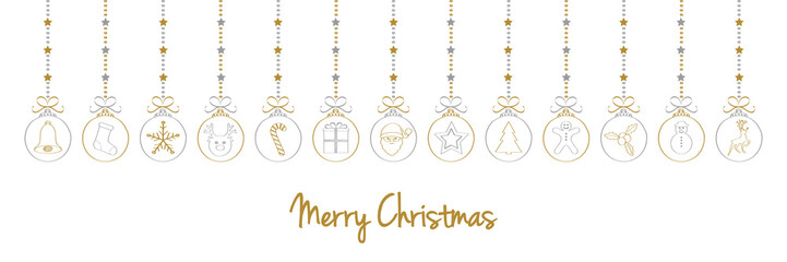 Christmas banner with hand drawn elements and wishes. Vector.