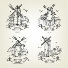 Set of farm landscapes with windmills views. Vector farmlands isolated on background. Realistic old mills collection are use as label, logo, sticker, emblem for advertising bakery or flour products.