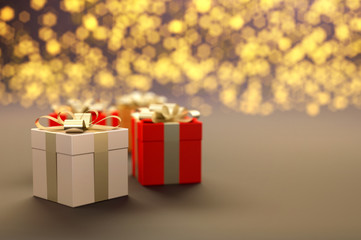 Gift Boxes with light bokeh and copy space, illustration.