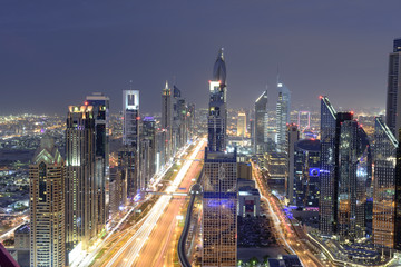 Dubai Skyline in Night View