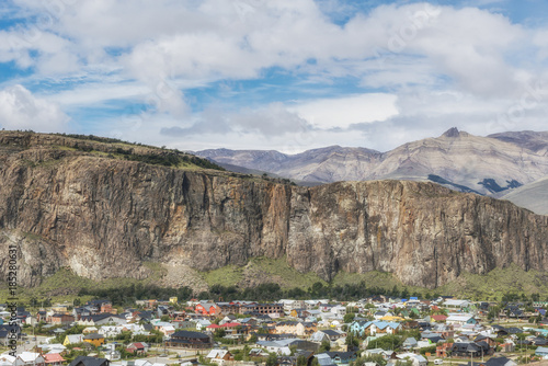 panoramic view of el chalten colorful houses santa cruz province argentina