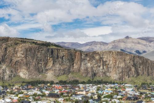 panoramic view of el chalten colorful houses santa cruz province argentina