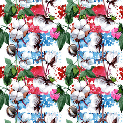 Cotton with flower pattern in a watercolor style. Full name of the plant: cotton, pink flower. Aquarelle wild flower for background, texture, wrapper pattern, frame or border.