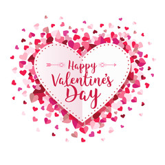 Happy Valentines Day Circle Hearts Vector Background 1