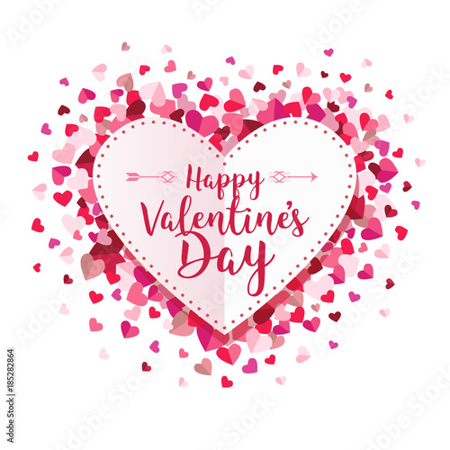 Happy Valentines Day Circle Hearts Vector Background 1\