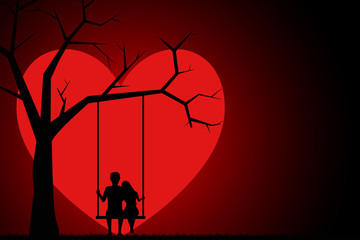 Silhouette of two young lovers sitting on a swing in the background of the moon in the form of a heart. Two lovers sitting on a swing at sunset. Valentines Day Card. Vector illustration