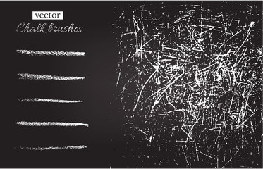 Vector chalk brushes and grunge chalkboard texture.
