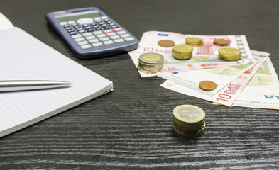 Calculation of income in euro currency.
