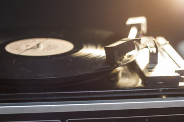 Old vinyl player close up