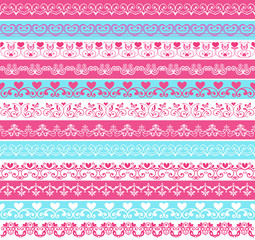 Set of vintage borders of pink and blue flowers with hearts. Retro pink, white and blue colors. Endless texture can be used for printing onto fabric and paper, scrapbook.