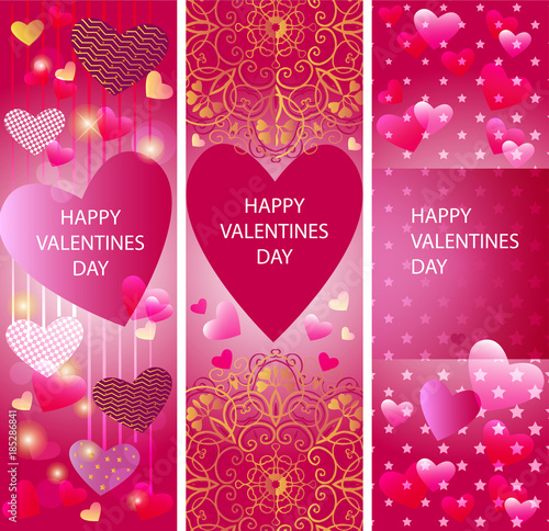 Set Of Vector Vertical Banners With Hearts Valentine S Day Banners