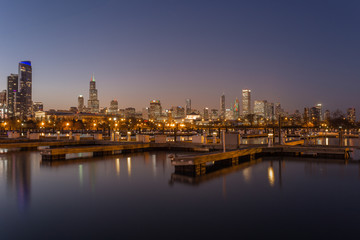 Chicago skyline behind empty boat docks