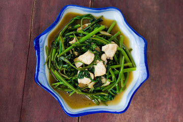 Morning glory with chicken stirfry