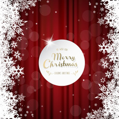 Merry Christmas with many snowflakes on red curtain background.