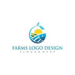 Farms and Agriculture Logo Design. Vector Illustrator Eps. 10