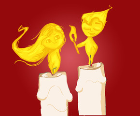 illustration of candles, image of romantic boy and girl