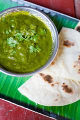 Indian Palak Matar spinach curry