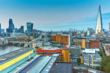 Amazing Sunset panorama from Tate modern Gallery to city of London, England, Great Britain