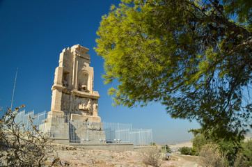 Fototapete - filopapou monument near to Acropolis Athens Greece colors
