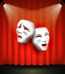 Theater poster with emotional masks on red curtain background. Vector illustration.