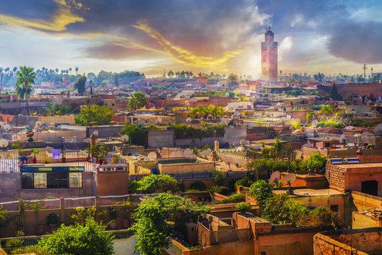 Panoramic views of marrakech medina, Morocoo