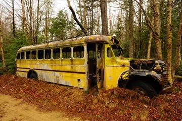 abandoned bus Adirondax N.Y.