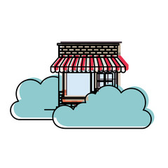 store facade with clouds in watercolor silhouette