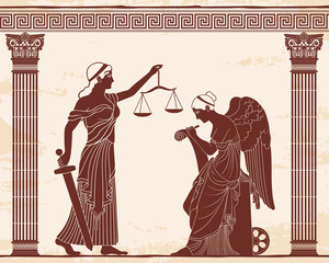 Ancient Greek goddess Themis holds a sword and scales in her hands and Nemesis with the wings. Vector vintage drawing. Brown pattern on a beige background with the aging effect.