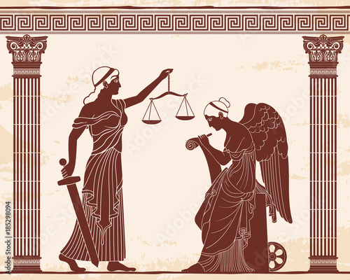 Ancient Greek Goddess Themis Holds A Sword And Scales In Her Hands