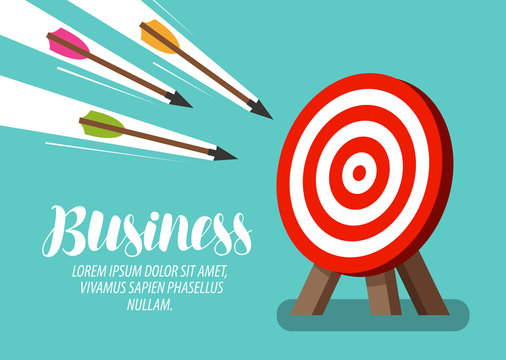 Target and flying arrows. Business concept. Vector illustration
