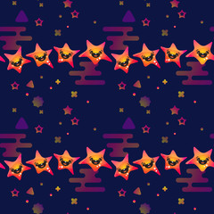 Cute smiling stars on dark blue background. Vector.