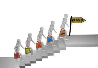 Personengruppe die eine Treppe hochgeht und in den Händen Taschen mit dem Wort Teamwork halten. Am Ende der Treppe steht ein Schild mit erfolg, Text in deutsch.