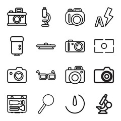 Lens icons. set of 16 editable outline lens icons