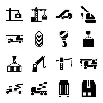 Set of 16 crane filled icons