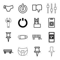 Push icons. set of 16 editable outline push icons