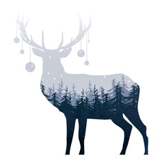 Double exposure silhouette of a deer with pine forest, on the starry sky, vector illustration
