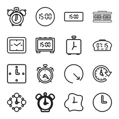 Countdown icons. set of 16 editable outline countdown icons