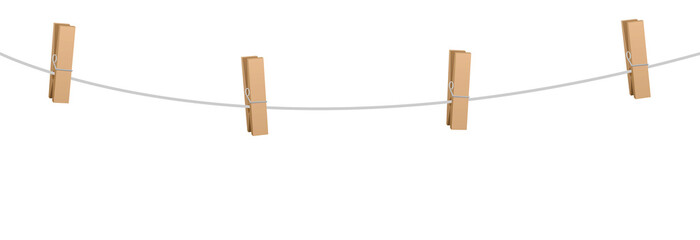 Clothes pins on a clothes line rope  - four wooden pegs holding nothing.