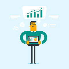 Young caucasian white businessman holding digital tablet with charts during presentation at conference. Business technologies, presentation concept. Vector cartoon illustration. Square layout.